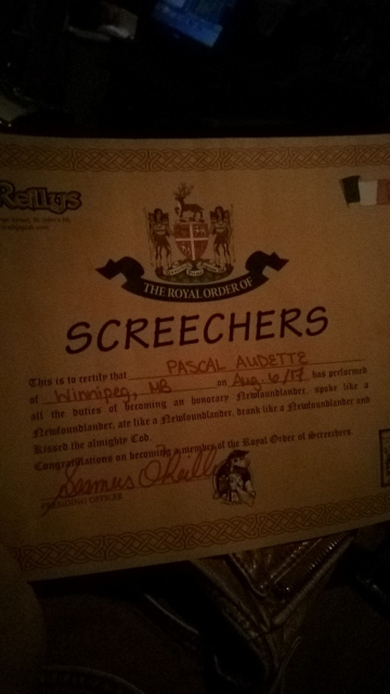 Pascal's honorary Newfoundlander certificate.